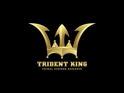 Trident King Logo Design branding brand colors golden kingdom primal crown king trident brand guide brand identity illustration logo design logo