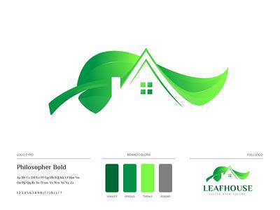 Leafhouse Logo Design brand guideline live home house real estate nature green house leaf vector icon branding design illustration logo