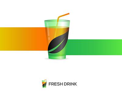 Fresh Drink Logo Design design green juice orange juice leaf glass drink juice logo design brand identity brand guideline illustration branding logo