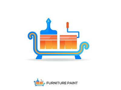 Furniture Paint Logo Design sultan divan sofa construction paint brush color paint furniture brand guide brand identity logo illustration branding logo design