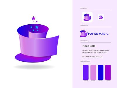 Paper Magic Logo Design rolling paper star magic hat magical paper craft magic paper logo design ui brand identity brand guideline illustration branding logo