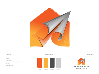 Transaction Architects Logo Design arrow rolling paper pages folding real estate check mark paper plane house brand guide design brand guideline brand identity illustration logo design logo branding