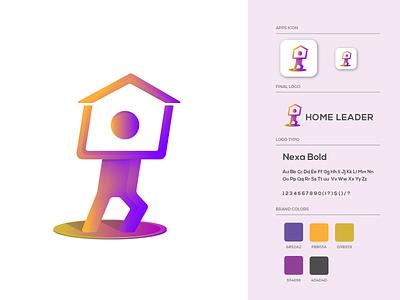 Home Leader Logo Design man house homeleader leadership leader home brand guide branding brand colors illustration brand identity logo design logo