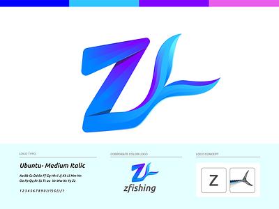 z fishing Logo Design fishing t-shirt fish logo fisherman restaurant ocean fishing fish z letter z letter brand identity logo design illustration branding logo