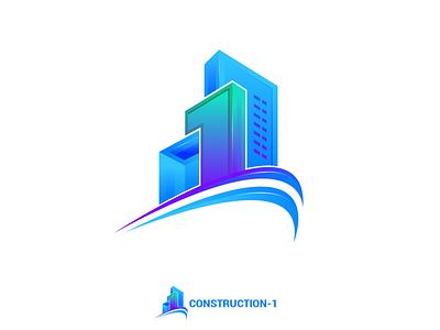Construction 1 brand guideline brand identity developer home real estate building number 1 number 1 one constraction logo design illustration branding logo
