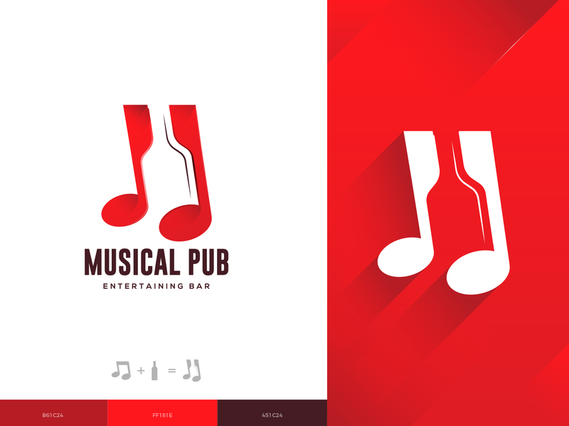 Musical Pub Logo Design music app wine bottle bottle wine notes music brand design brand guideline illustration brand colors brand identity branding logo design logo