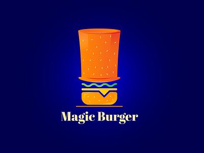 Magic Burger Logo Design food hat mascot burger magic brand colors brand guideline brand guide illustration brand identity branding logo design logo