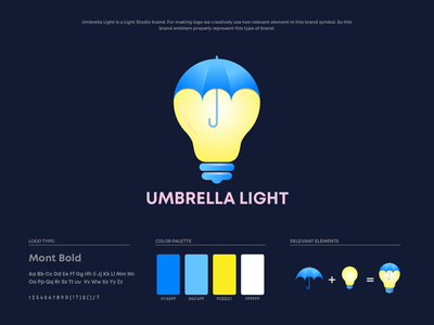Umbrella Light Logo Design idea think bulb light umbrella brand guide brand guideline brand colors illustration branding brand identity logo design logo