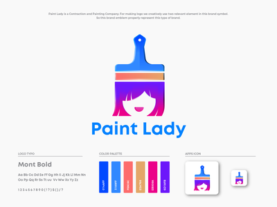 Paint Lady Logo Design paint lady girl lady paint brush paint brand guideline brand design color guide illustration brand identity branding logo design logo