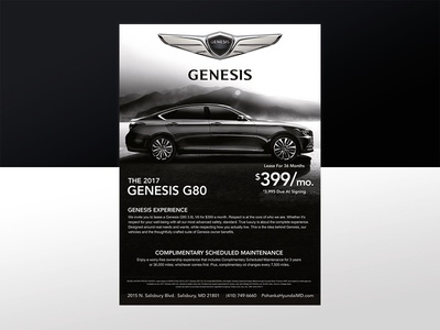 Hyundai Genesis grayscale lease car graphic design print design automotive genesis hyundai