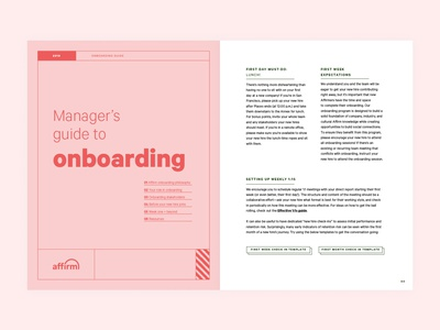Manager's Onboarding Guide typography print shapes design branding art direction