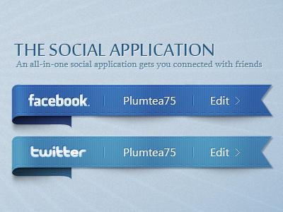 Social App app illustration social facebook twitter logon