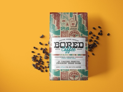 Bored Coffee Co americana vintage illustration vintage branding logo illustration packaging designer branding coffee bag coffee coffee branding coffee packaging coffee design