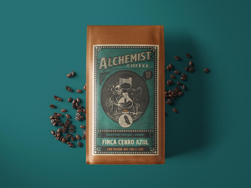 Alchemist Coffee Packaging logo branding packaging packaging designer packagingdesign illustration process coffee designer coffee bag design coffee coffee packaging coffee branding