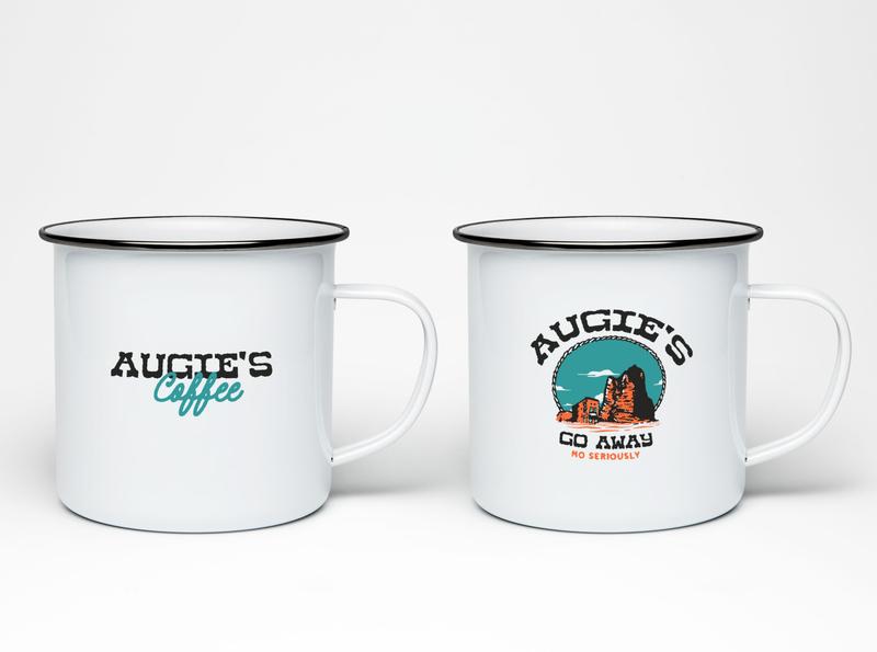 Augie's Coffee - Go Away, Enamel Mug enamel mug coffee branding coffee design augies coffee branding vintage design illustration merch design mug design enamel mug design merchandise merch