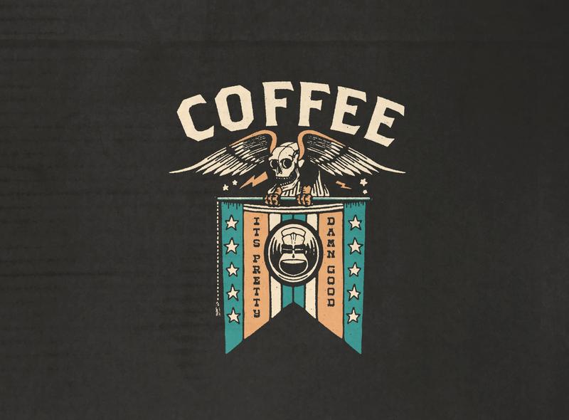 Coffee Eagle - Design For Sale skull design vintage branding vintage design distressed unrest textured illustration packagingdesign coffeemerchandise coffee branding branding merchandise design for sale