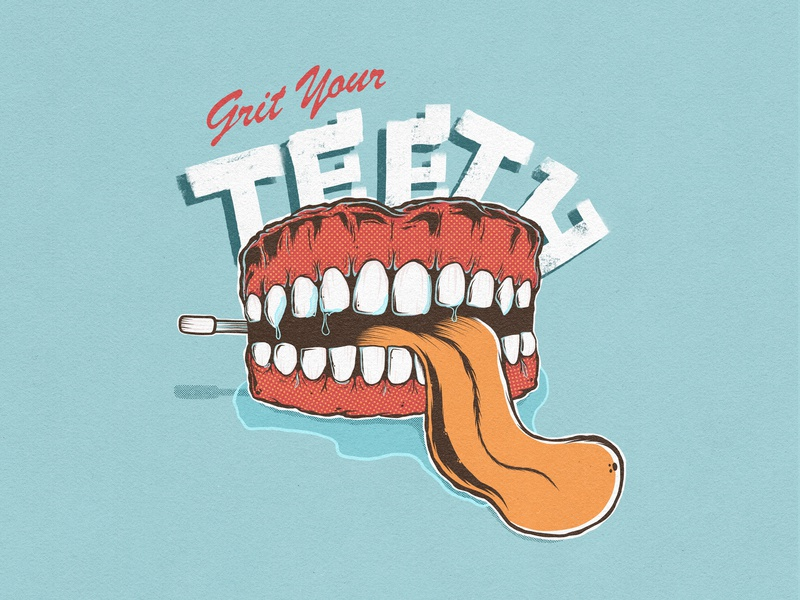 Grit You Teeth - Fake Ad Series advert campaign vector logo band poster graphic design merchandise design cartoon advertising character advertising agency advertising 50s design poster art branding poster design illustration