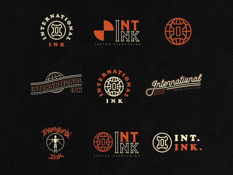 International Ink Logo Flash tattoo logo tattoo art photoshop illustrator vector advertising typography advertising agency branding branding guide design logo