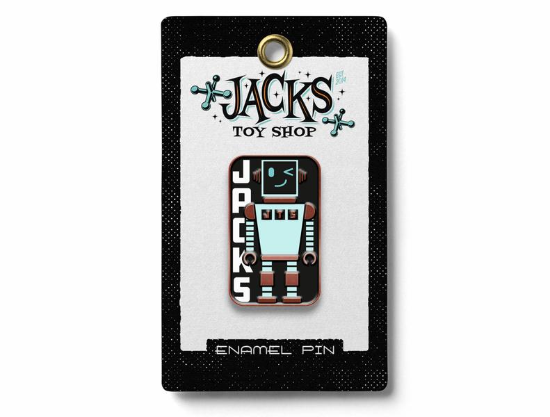 Robot Pin for Jacks Toy Store robot design jacks toy store toystore pin merchandise vector illustration design typography logo enamelpin pins branding illustration design illustration art