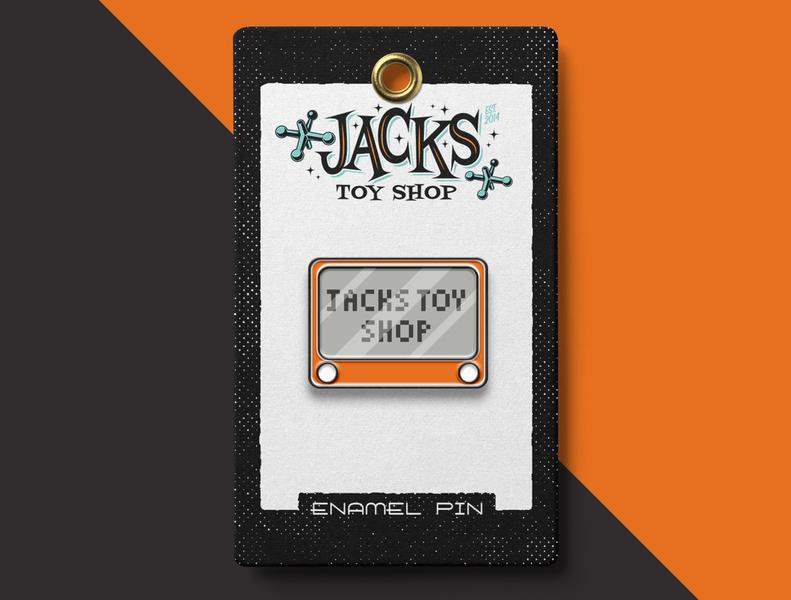 Etch-A-Sketch Pin for Jacks Toy Shop texture 50sdesign typography vintage badge vectorillustration merchandise toyshop jackstoyshop brandidentity vintage logo branding vector illustration enamelpins pins vintage vintage toys etch-a-sketch