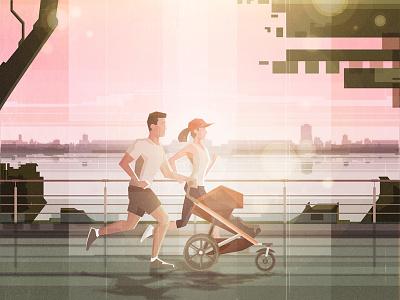 COUPLE RUNNING lifestyle characterdesign illustrator vector art illustration art