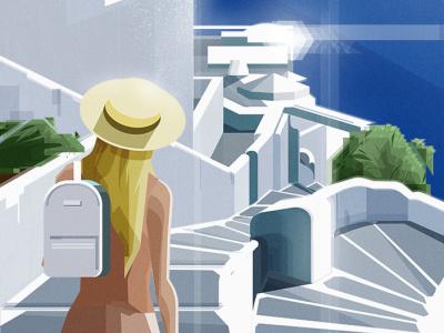 SANTORINI2 sea beach sun island santorini greece holidays summer characterdesign adobeillustator illustration art
