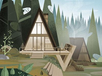 Dream Cabins. nature cabañas cabins vector illustrator adobeillustator illustration art
