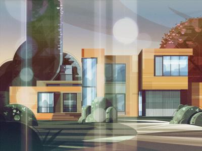 LOVELY SUNSET lanscape vector illustracion illustration art characterdesign