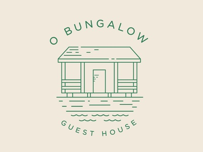 Logo for O Bungalow - Guesthouse in Aldeia Nova, Faro, Portugal logo green mark symbol icon guesthouse brand and identity