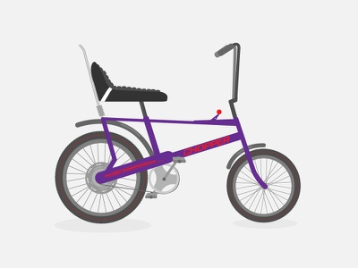 Raleigh Chopper Bike Illustration illustrator flat dribbble drawing 2d vector design bike illustration retro