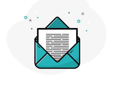 You've got mail teal letter mail flat illustrator 2d vector art illustration