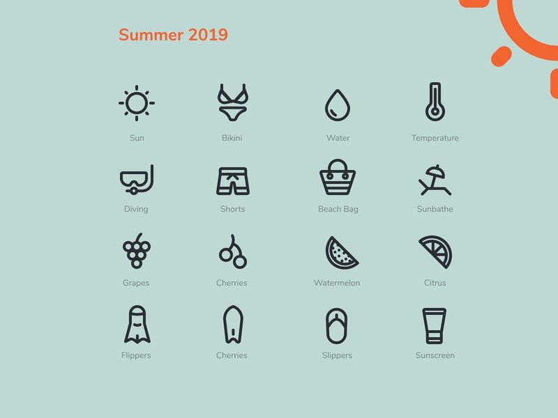 Simple summer 2019 icon starter pack icon vector summer illustration summer icons outlined icons set iconography beach