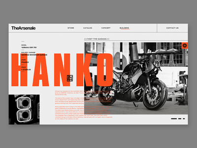 TheArsenale / HANKO orange motorbike color website web design ux ui typography type minimal product landing interface interaction design