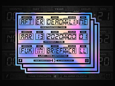 Time Circuit from BACK<<<TO THE FUTURE holographic flue stickermule vaporwave vintage sticker backtothefuture branding design branding