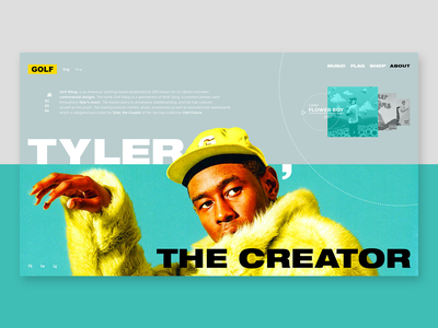 GOLF WANG by Tyler, The Creator - redesign interaction web yellow grey webdesign navigation bar golfwang userinterface ux ui navigation interface bold helvetica blue graphicdesign design flat colors music