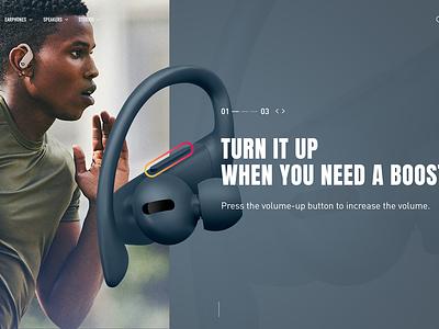 Powerbeats Pro / interaction concept exploration concept interface graphicdesign website interaction webdesign ecommerce ux ui headphones design beats animation