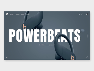 Powerbeats Pro / interaction concept exploration concept interface graphicdesign website interaction webdesign ecommerce ux ui headphones design beats animation