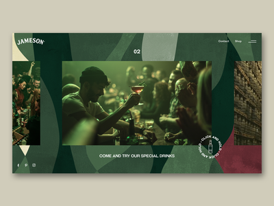 Jameson whiskey / landscape menu ux ui interface animation green design uiux product page graphicdesign exploration interaction webdesign aftereffects menu jameson