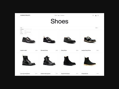 Common Project — Minimalist footwear brand, catalog web design shoes shoe brand online store online shop footwear brand footwear fashion brand ecommerce design ecommerce minimalism minimalistic minimal design website minimal