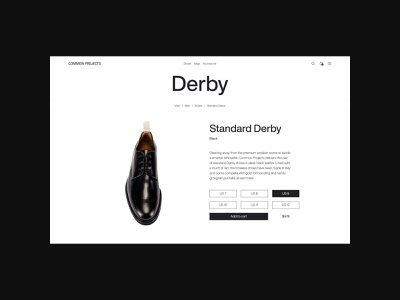 Common Project — Minimalist footwear brand, product page design shoe brand shoes online store online shop footwear brand footwear ecommerce app ecommerce design minimalism minimalistic design minimalistic minimal website