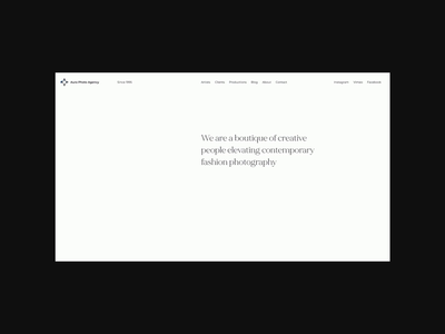 Minimalist webdesign for photo agency from Milan, Italy stylist website videographer website photographer website photo agency website photo agency model website fashion fashion website fashion agency minimalist design minimalistic design minimalism