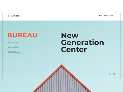 Architecture Bureau UI interface color blue architecture website architecture landing page swiss website web ux ui type design flat typography minimal