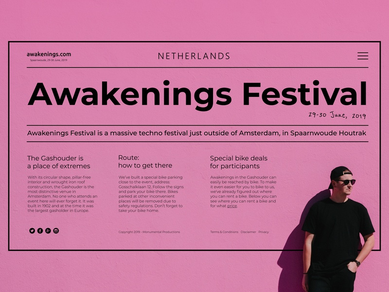 Techno festival in the Netherlands purple mainpage interface landing page swiss website web ui ux typography type minimal design flat