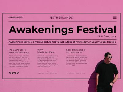 Techno festival in the Netherlands purple mainpage interface landing page swiss website web ui ux typography type minimal design flat