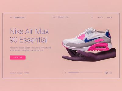 Sneaker store UI interface air max nike sneakers sneaker swiss website web design ui ux type typography minimal flat