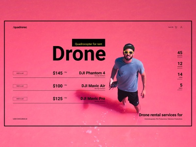 Drone rental service mainpage red quadcopter drone landing page interface swiss website web ui ux flat minimal type typography