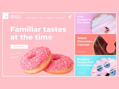 Dunkin delivery dunkin mainpage color landing page interface design ux ui website web flat minimal