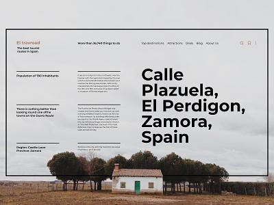Tourist routes in Spain minimalism mainpage landing page interface swiss typography type design website web ux ui minimal flat