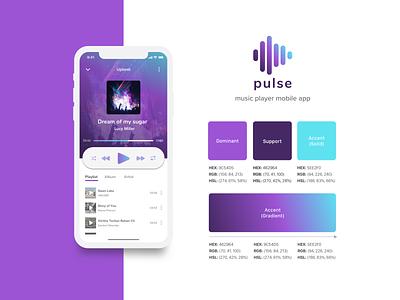 Violet-Aqua Gradient Color Palette | Music App purple sensuality individuality creativity emotion vibrant color logodesign aqua violet gradient color palette mobile app design ui music app