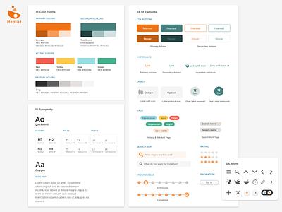 Style Guide | Mealist Recipe Web App simple clean interface minimal design design mobile app recipe app brand system branding concept icons ui elements typogaphy color palette style guide